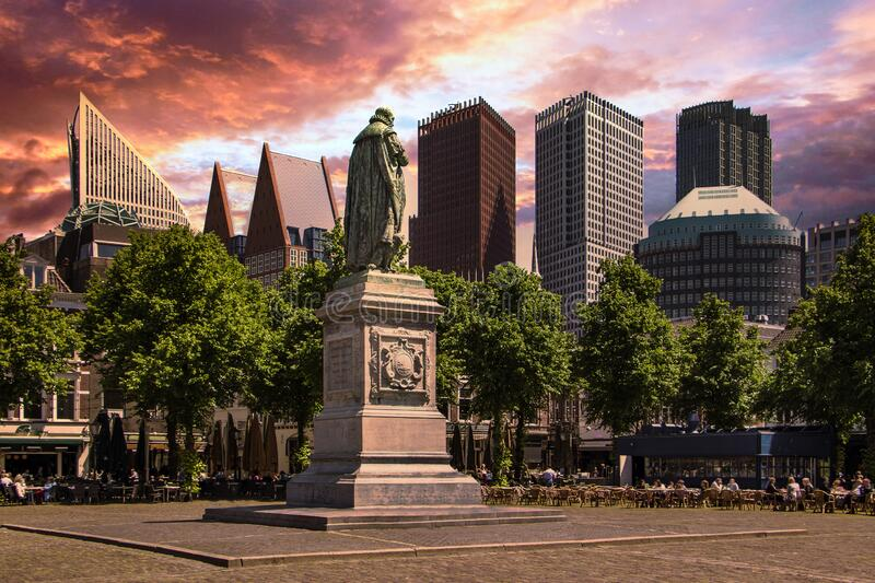 Cityscape of The Hague, Plein Place royalty free stock image