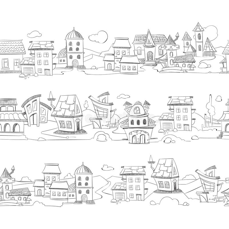 Cityscape with hand drawn doodle houses vector illustration stock illustration