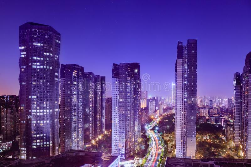 Cityscape with hectic traffic and skyscrapers at dusk,view in the business district. Fuzhou,Fujian,China royalty free stock photo