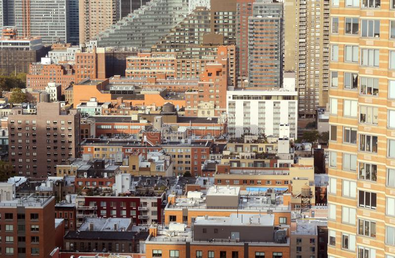 Cityscape in Hell`s Kitchen, Manhattan, New York. Cityscape of apartment and office buildings in Hell`s Kitchen, New York City. Diverse architectural styles royalty free stock photo