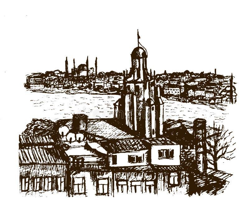 Cityscape het district van meningsbeyglou met de Galata-Toren in Istanboel, grafische schetsillustratie royalty-vrije illustratie