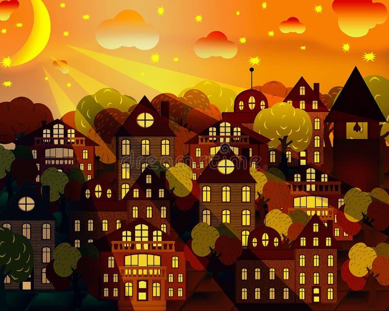 Cityscape in het maanlicht stock afbeeldingen
