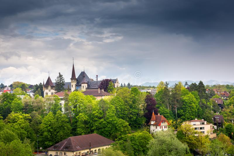 Cityscape Historical Architecture Building of Bern, Switzerland, Capital City Landscape Scenery and Historic Town Places of Bern., royalty free stock image