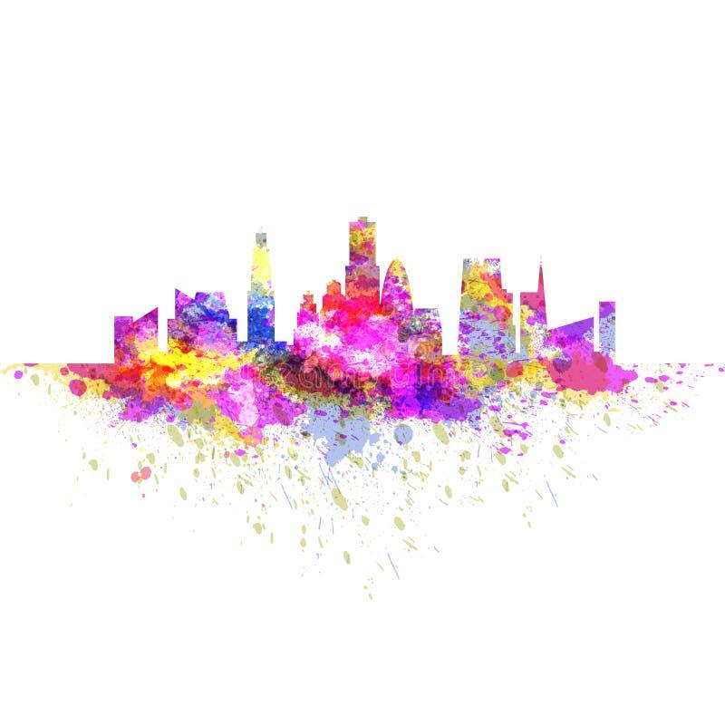 Cityscape horizon met wolkenkrabbers van kleurrijke heldere grungeplonsen die wordt gemaakt royalty-vrije illustratie