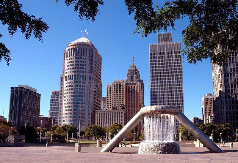 cityscape i stadens centrum detroit royaltyfria bilder