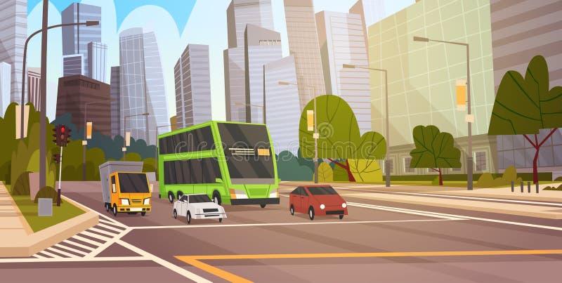 Cityscape i stadens centrum Singapore för sikt för väg för byggnader för stadsgataskyskrapa modern royaltyfri illustrationer