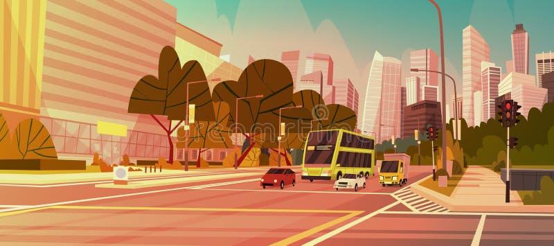 Cityscape i stadens centrum Singapore för sikt för väg för byggnader för stadsgataskyskrapa modern vektor illustrationer