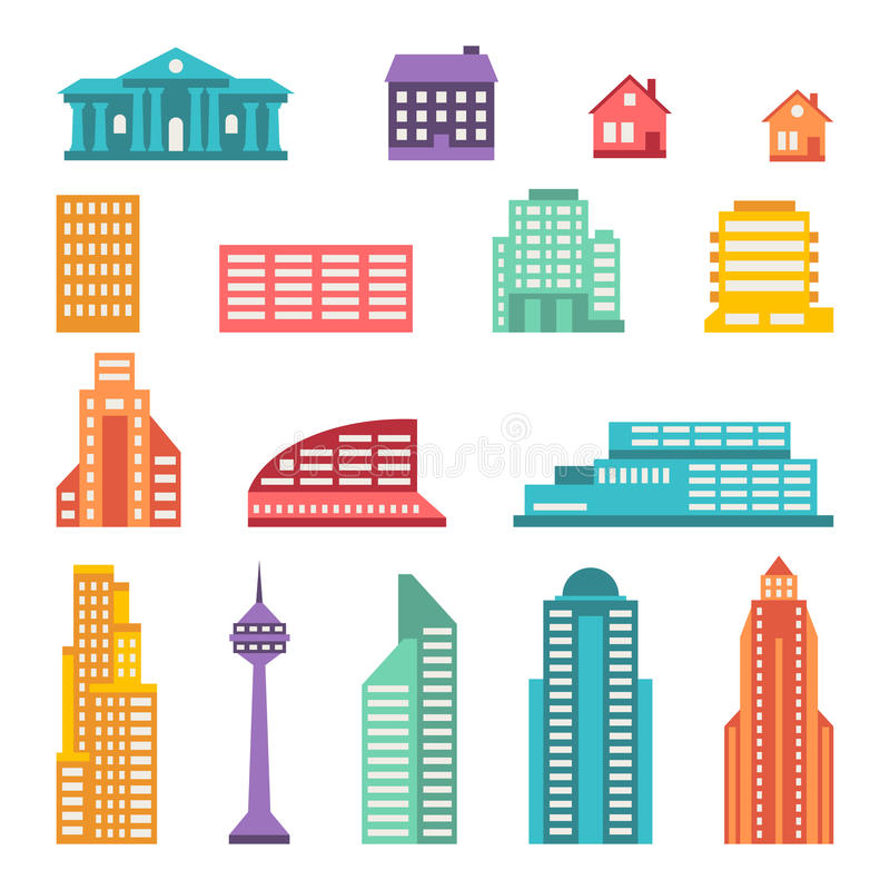Cityscape icon set of buildings stock illustration