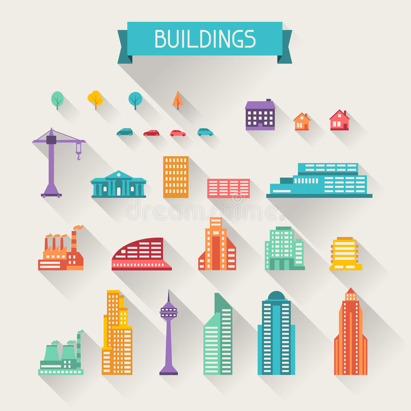 Cityscape icon set of buildings.  vector illustration