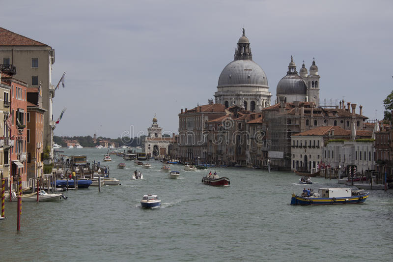 Cityscape image of Grand Canal and Basilica Santa Maria della Salute. Venice stock images