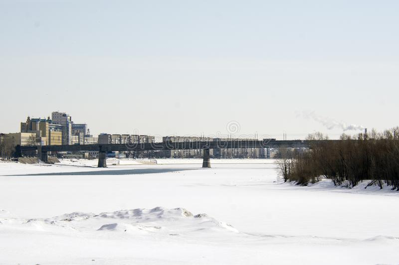 Cityscape of the Irtysh and Omsk stock photos