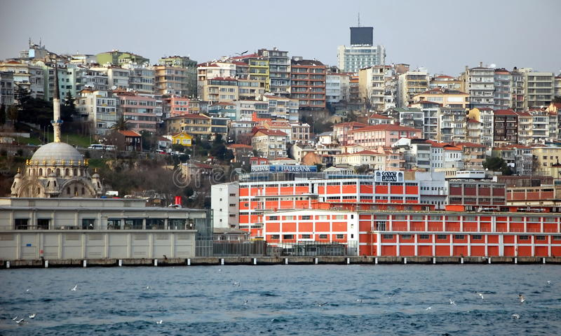 Cityscape of Istanbul. ISTANBUL, TURKEY - JAN 20, 2011 - View on Istanbul from Bosphorus on a foggy day royalty free stock photography