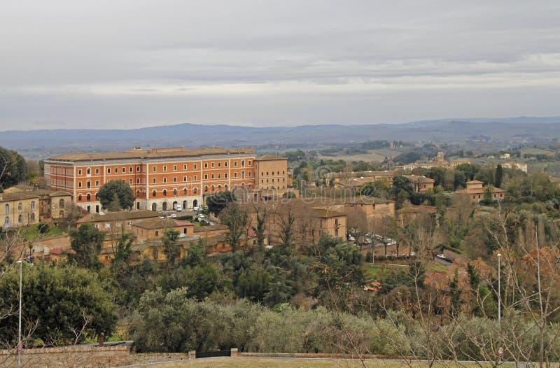 The cityscape of italian city Siena in Tuscany region stock photography