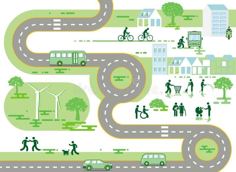 CityscapeÂkaart, het Leven in de stad - royalty-vrije illustratie