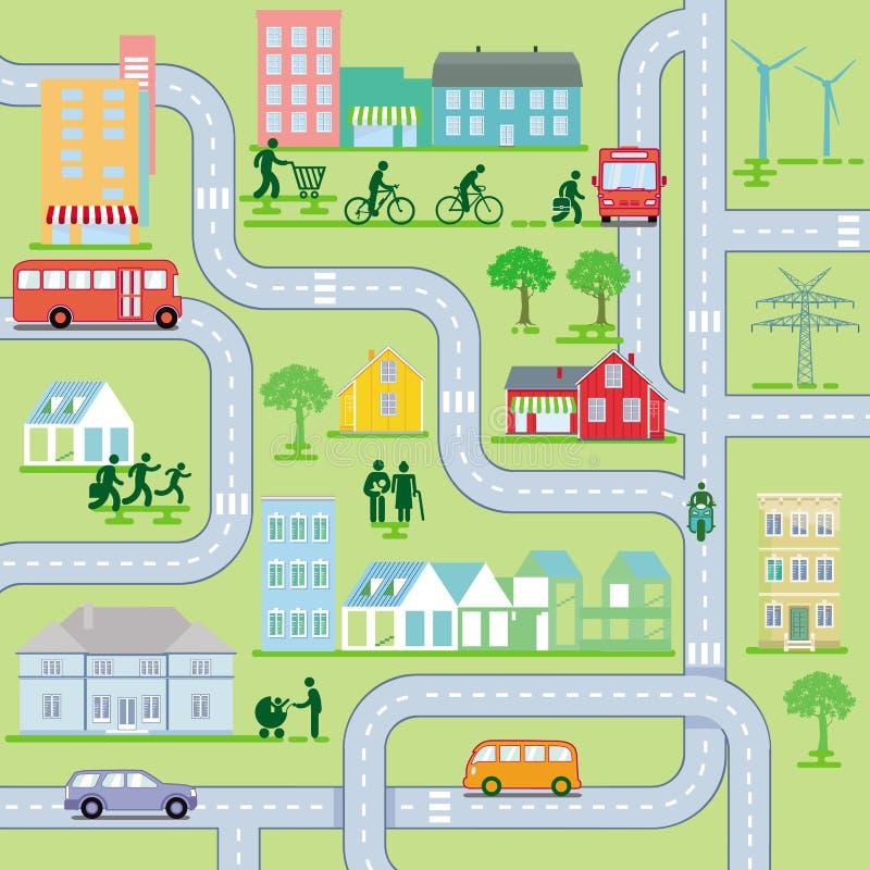 CityscapeÂkaart, het Leven in de stad stock illustratie