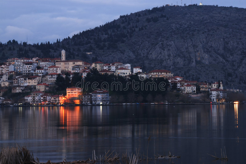 Cityscape of Kastoria, Greece stock image