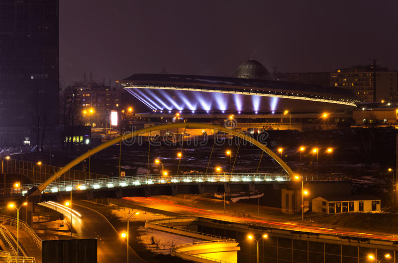 Cityscape, Katowice, Poland. Cityscape of Katowice at nigh with the beautiful Spodek arena, Poland stock photography