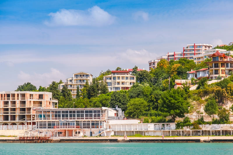 Cityscape of Kavarna, coastal town, Bulgaria. Cityscape of Kavarna, coastal town and seaside resort in the Dobruja region of northeastern Bulgaria, Black Sea stock images