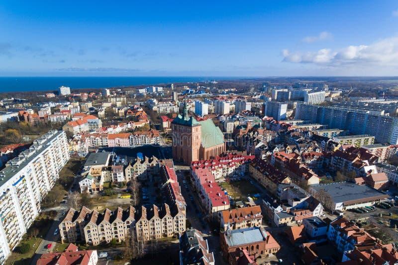 Cityscape of Kolobrzeg, Poland stock images
