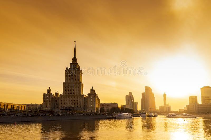 Cityscape & Landscape of downtown Moscow with Modern skyscrapers, office building and Moskva river over Sunrise sky, Moscow City stock images