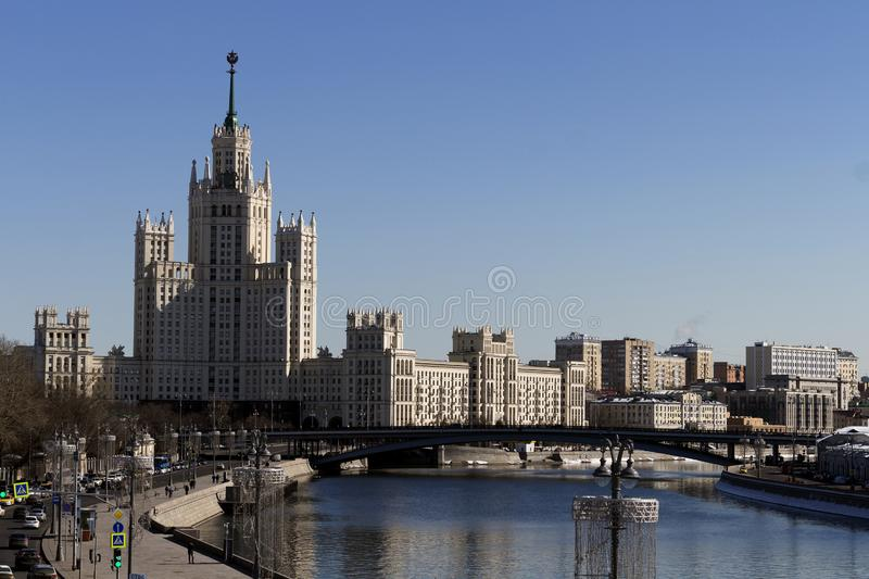 Cityscape and Landscape of downtown Moscow with Modern skyscrapers, office building and Moskva river over Sunrise sky stock photos