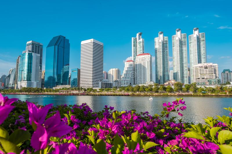 Cityscape, Landscape or High Rise buildings seen from Benjakiti park in Bangkok, Thailand. stock photos