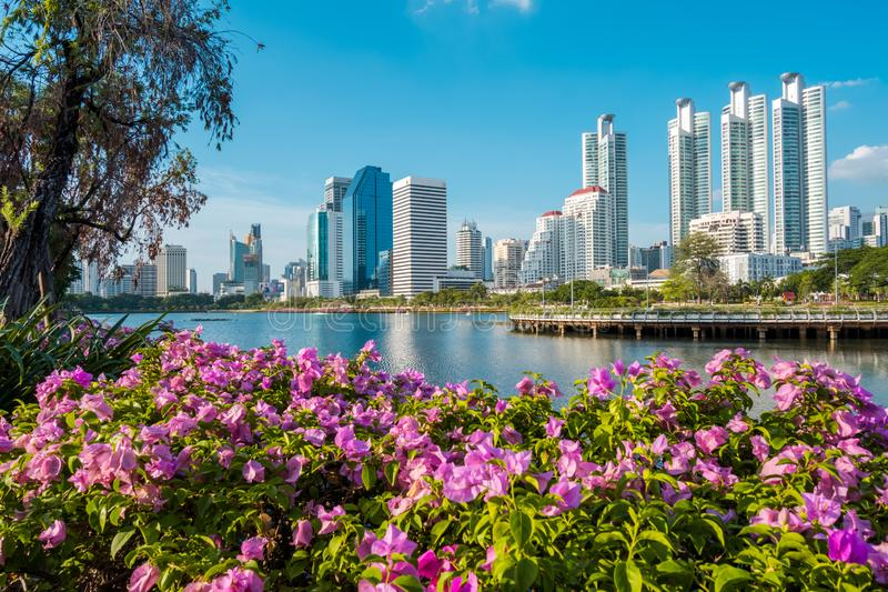 Cityscape, Landscape or High Rise buildings seen from Benjakiti park in Bangkok, Thailand. stock photography