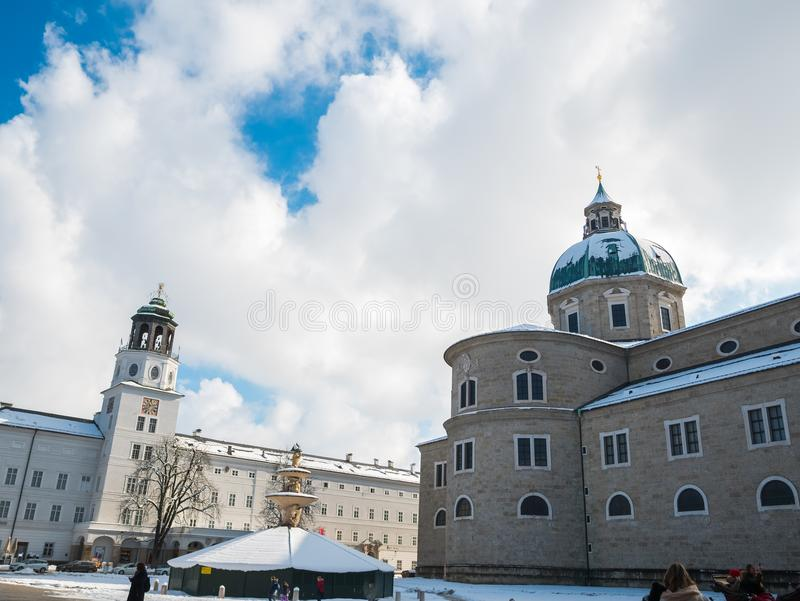 Cityscape landscape salzburg austria blue sky winter season snow stock image