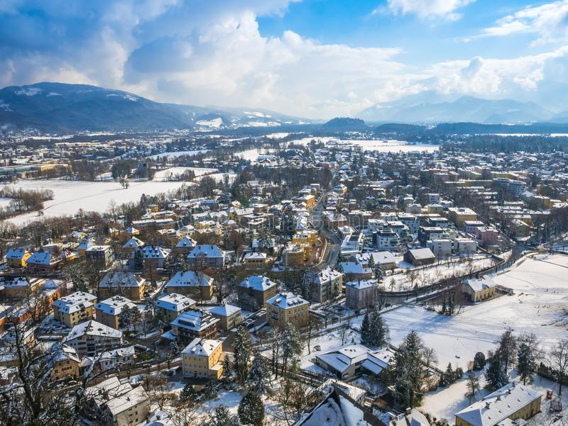 Cityscape landscape salzburg austria blue sky winter season snow royalty free stock images