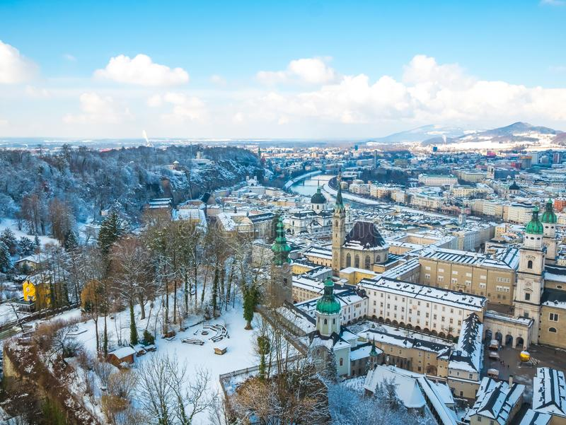 Cityscape landscape salzburg austria blue sky winter season snow moutain stock photography