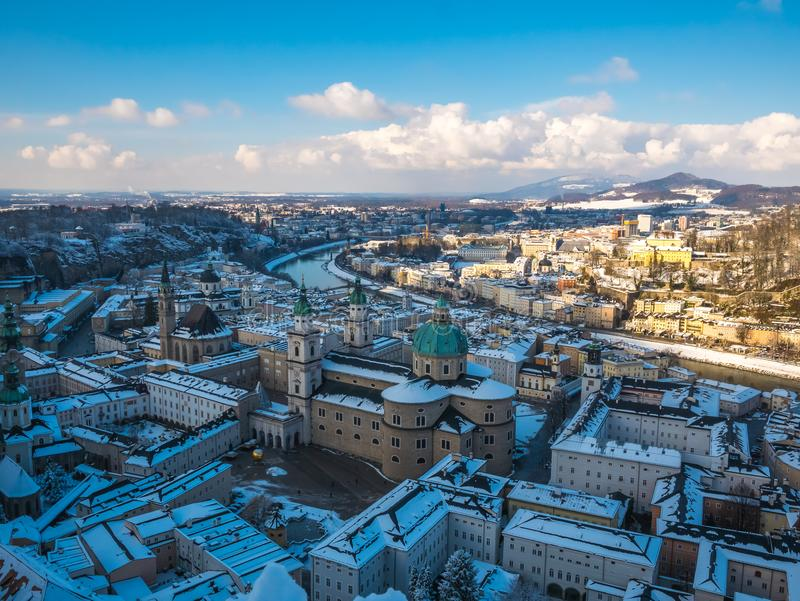 Cityscape landscape salzburg austria blue sky winter season snow moutain stock images