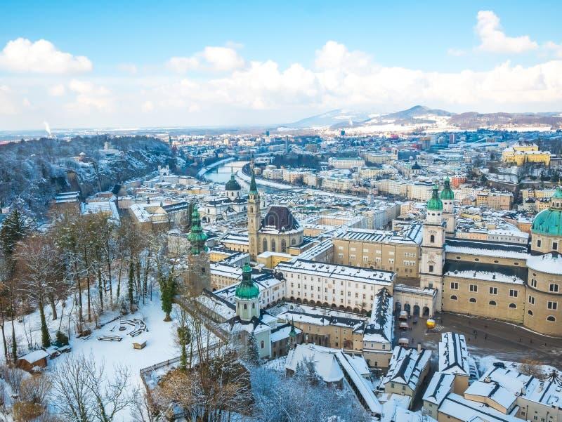Cityscape landscape salzburg austria blue sky winter season snow moutain royalty free stock photography