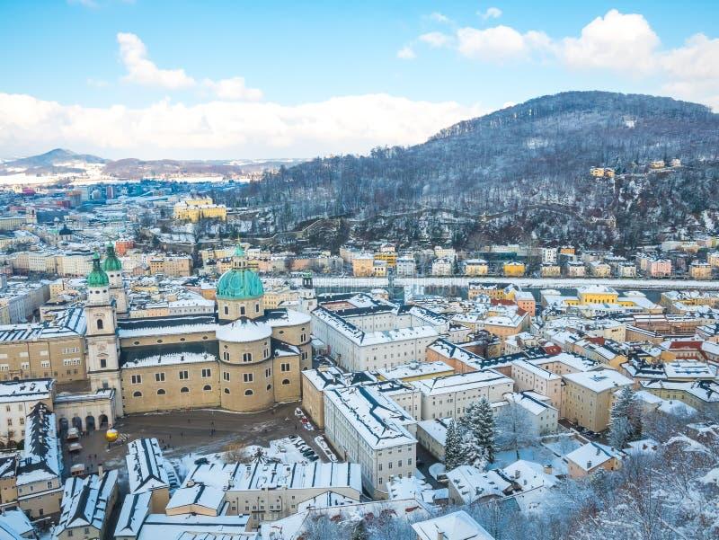 Cityscape landscape salzburg austria blue sky winter season snow moutain stock photography