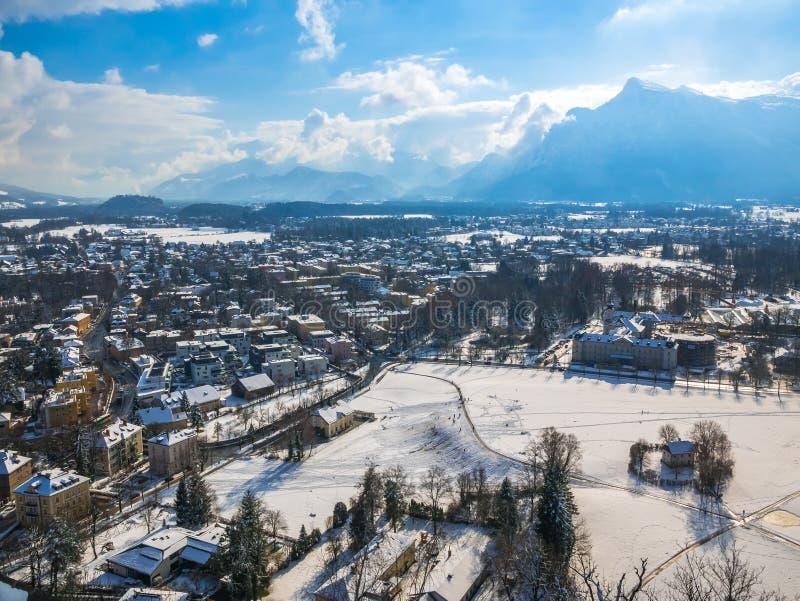 Cityscape landscape salzburg austria blue sky winter season snow moutain stock photo
