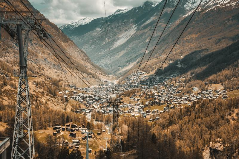 Cityscape and Landscape Scenery View of Zermatt City, Switzerland From Transportation Cable Car. Aerial Scenic View Via Tourist royalty free stock image