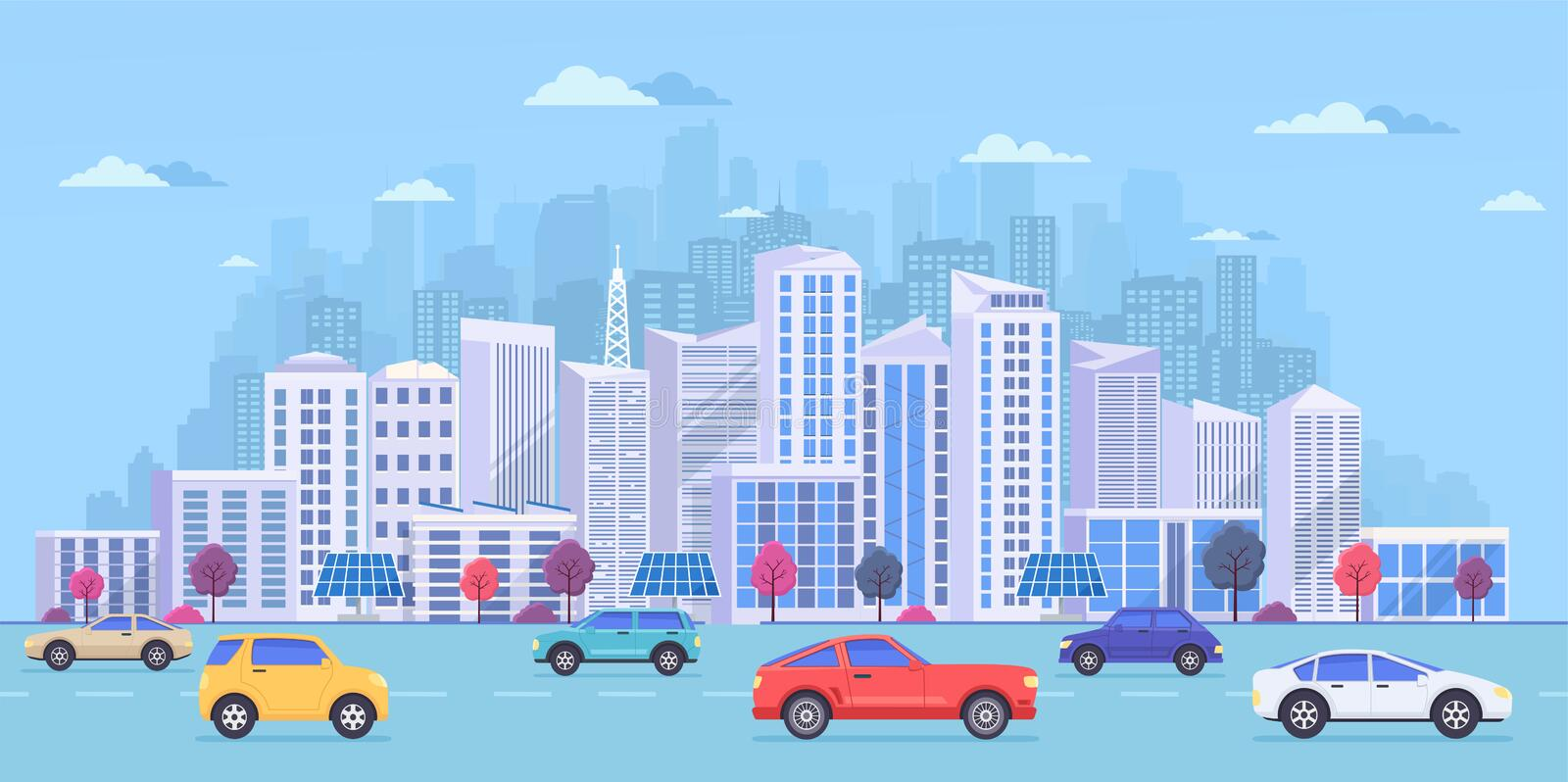 Cityscape with large modern buildings, city transport, traffic on the street. vector illustration