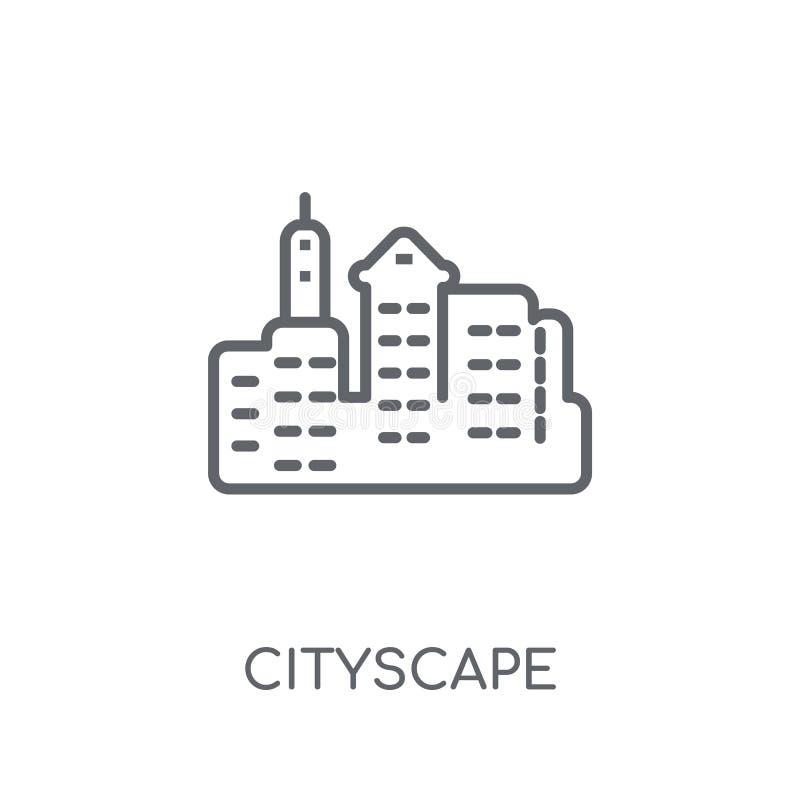 Cityscape lineair pictogram Modern overzichtscityscape embleemconcept  royalty-vrije illustratie