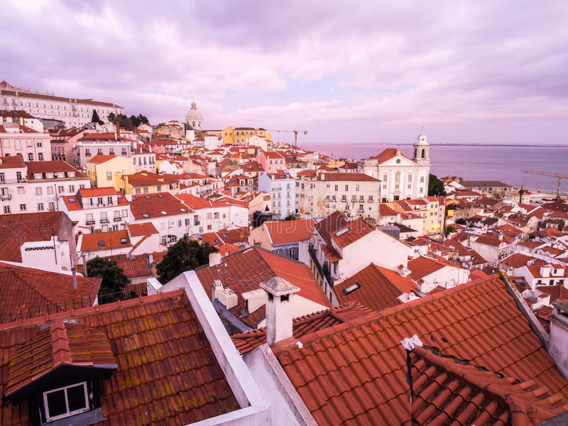 Cityscape of Lisbon, Portugal. Seen from Portas do Sol, at sunset royalty free stock image