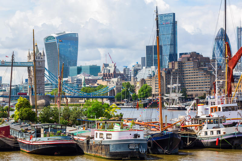 Cityscape of London viewed over the Thames stock images