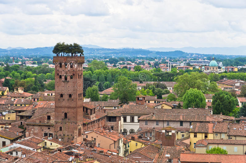 Cityscape of Lucca with Guinigi tower in front, Tuscany royalty free stock image