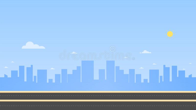 Cityscape with main street and sky background. Vector illustration. Urban landscape. Daytime cityscape in flat style stock illustration