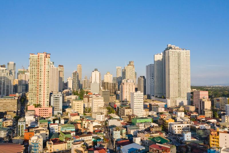 Cityscape of Makati, the business center of Manila, view from above. Asian metropolis in the morning, top view. Skyscrapers and residential neighborhoods, the royalty free stock photos