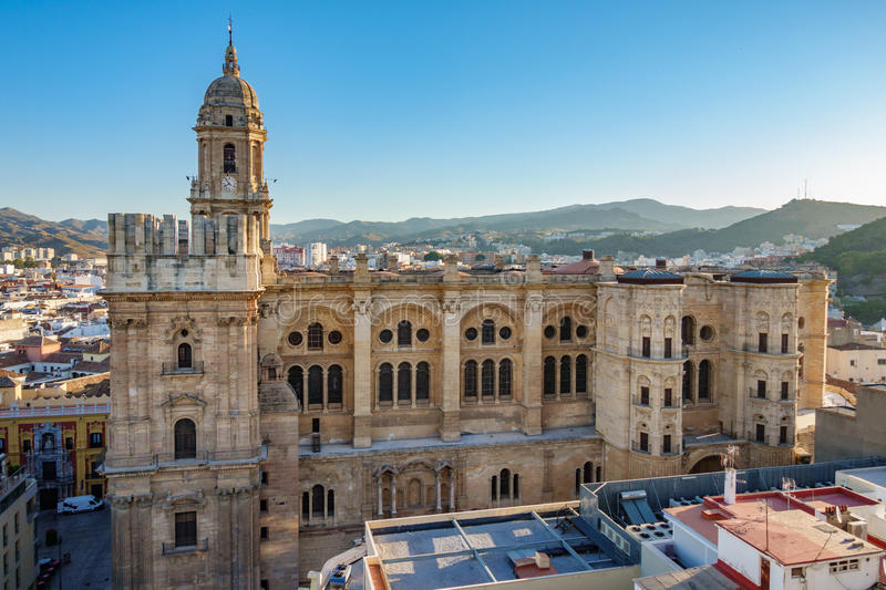 Cityscape of Malaga Cathedral. Top view of Malaga Cathedral at down stock photo