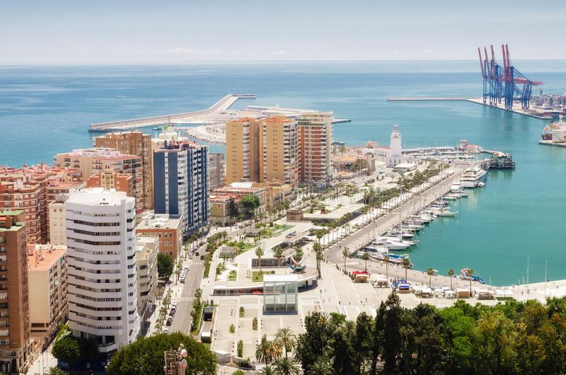 Cityscape of Malaga with mediterranean sea port harbor. Andalusia, Spain. Cityscape of Malaga with mediterranean sea port harbor. Andalusia, Spain stock photos