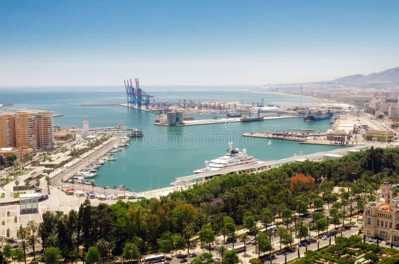 Cityscape of Malaga with mediterranean sea port harbor. Andalusia, Spain. Cityscape of Malaga with mediterranean sea port harbor. Andalusia, Spain stock photo