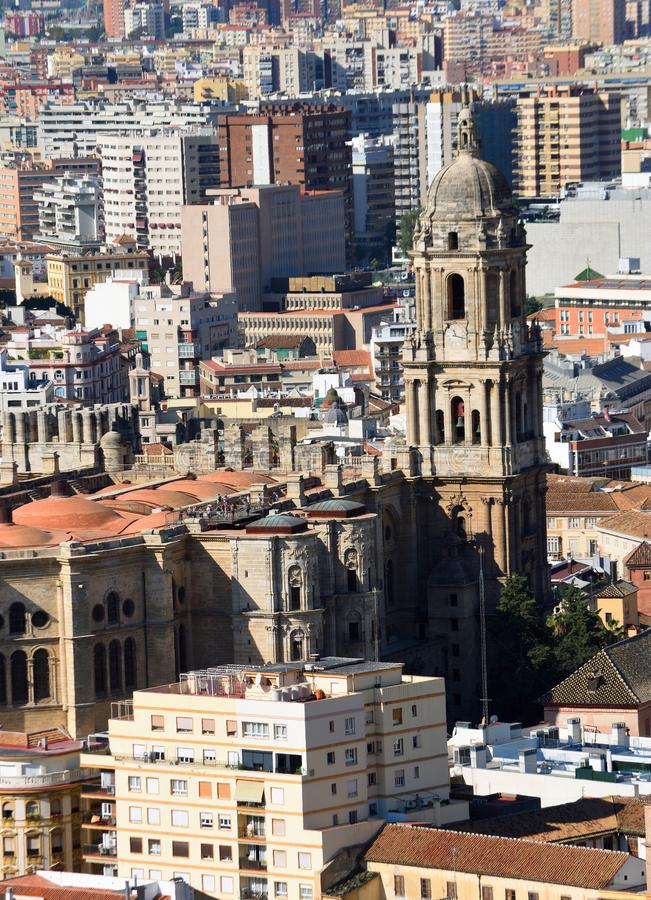 Cityscape  of  Malaga Spain including Cathedral. Cityscape  of  Malaga Spain  including Cathedral stock photos