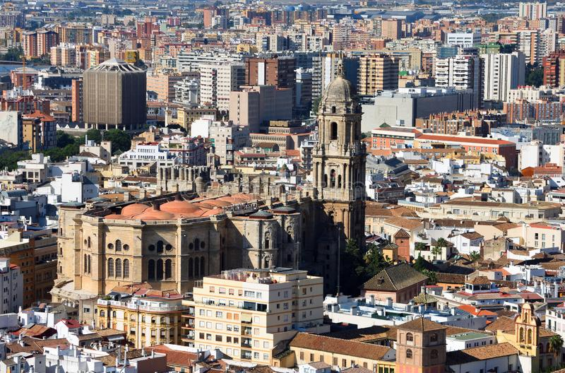 Cityscape of Malaga Spain including Cathedral stock image
