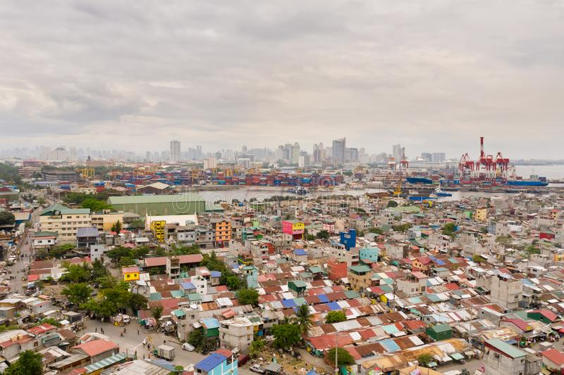 Cityscape Manila. Residential areas and business center in the city, top view. Big port city. The capital of the Philippines royalty free stock image