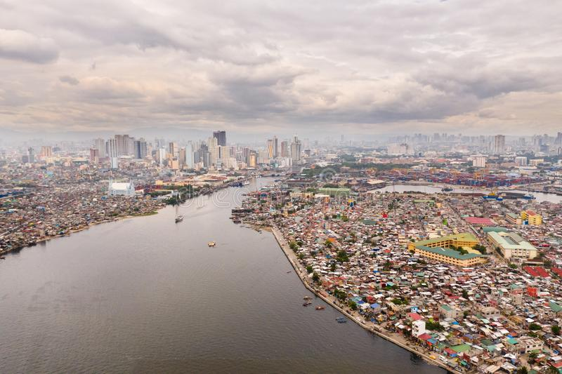 Cityscape Manila. Residential areas and business center in the city, top view. Big port city. The capital of the Philippines stock photography