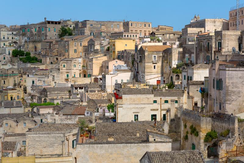 Cityscape of Matera, Italy stock photography